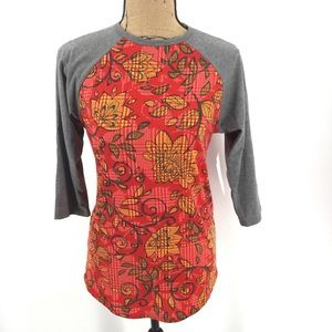 NEW Lularoe Randy T XS Red Gray Floral Yellow